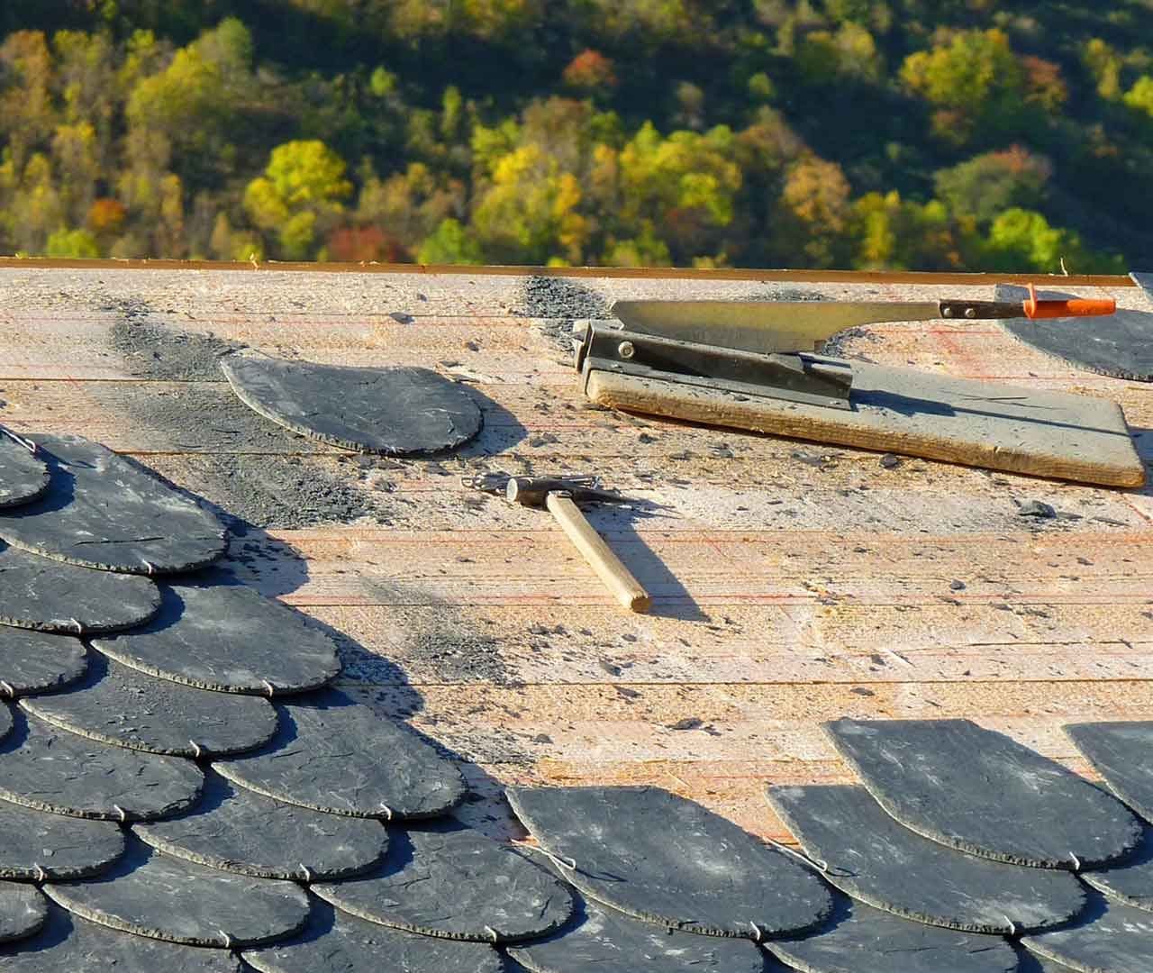 slate roofing project in indianapolis