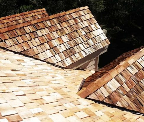 completed wood shake roof