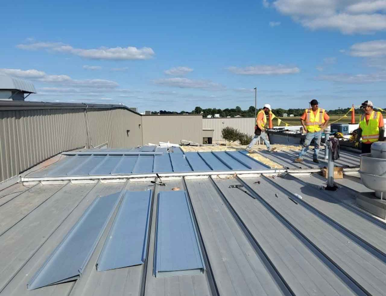 a flat roofing project in indianapolis